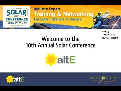 Welcome to altE Virtual Solar Conference 2021