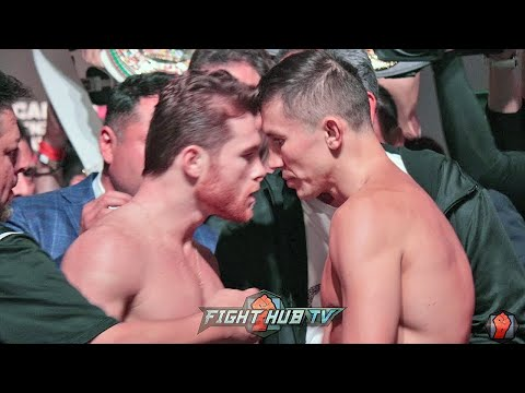 Смотреть CANELO RUNS UP ON GOLOVKIN DURING WEIGH IN FACE OFF! BOTH GO NOSE TO NOSE IN HEATED WEIGH IN! онлайн