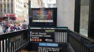 MTA NYC Subway: (B) (D) (F) (M) trains at 47 - 50 Sts Rockefeller Center
