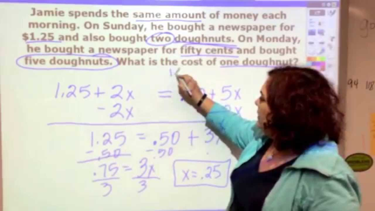 Solving Word Problem Equations with Variables on Both Sides - YouTube