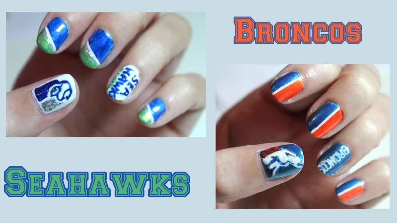Superbowl XLVIII Nail Art - Seahawks & Broncos - Superbowl XLVIII Nail Art - Seahawks & Broncos - YouTube