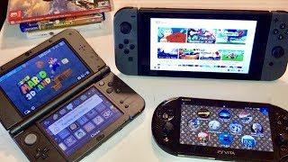 Nintendo Switch vs New 3DS XL vs PS Vita Slim - ULTIMATE COMPARISON!! Size, Battery, Screens REVIEW