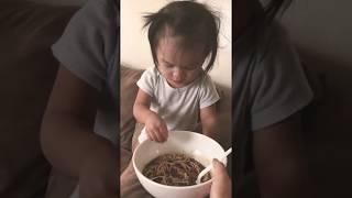 Hmong Toddler Eats Papaya Salad