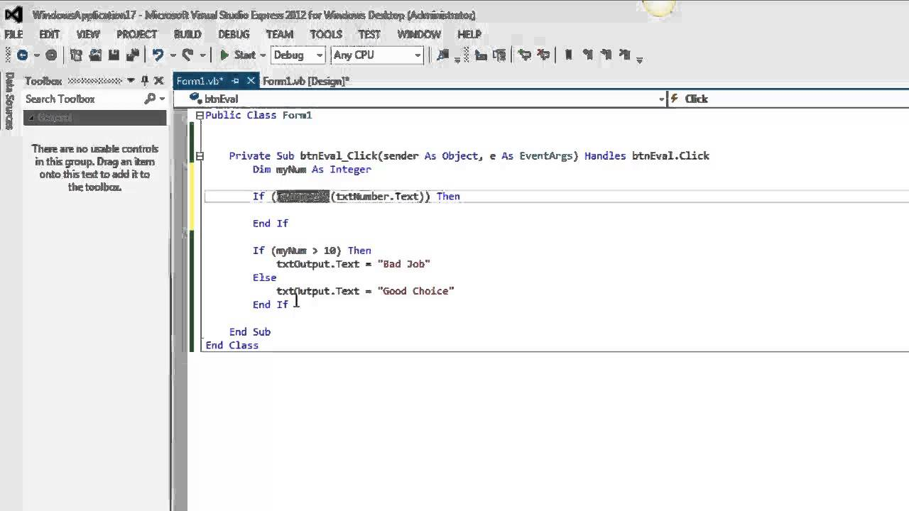 Validating event in visual basic