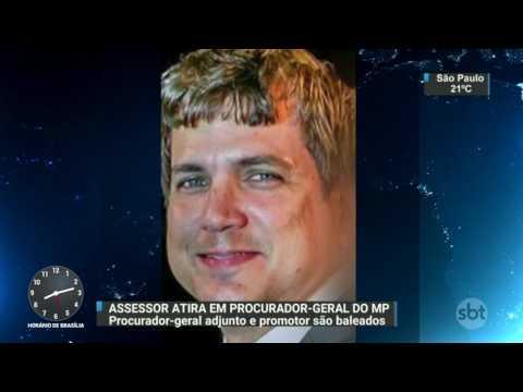 Procurador e promotor são baleados dentro do Ministério Público do RN - SBT Brasil (24/03/17)
