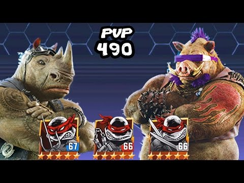 TMNT Legends PVP​​ 490 (Raphael, Leonardo, Mikey (Original), Bebop Movie, Rocksteady Movie)