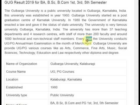 Gulbarga University Result 2019 @ gug.ac.in BA BSc BCom Results
