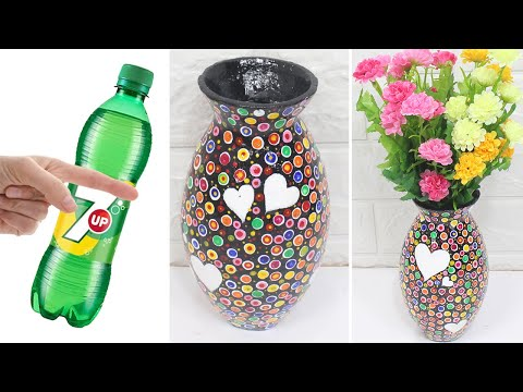 Beautiful and easy flower vase from plastic bottle and plaster