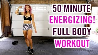 50 Minute ENERGIZING Cardio, Strength and Abs   No Repeat REAL TIME Home Workout