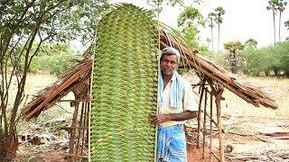 Primitive Technology Coconut Tree Leaves Door For House | Coconut Tree Leaves House | Wild Food