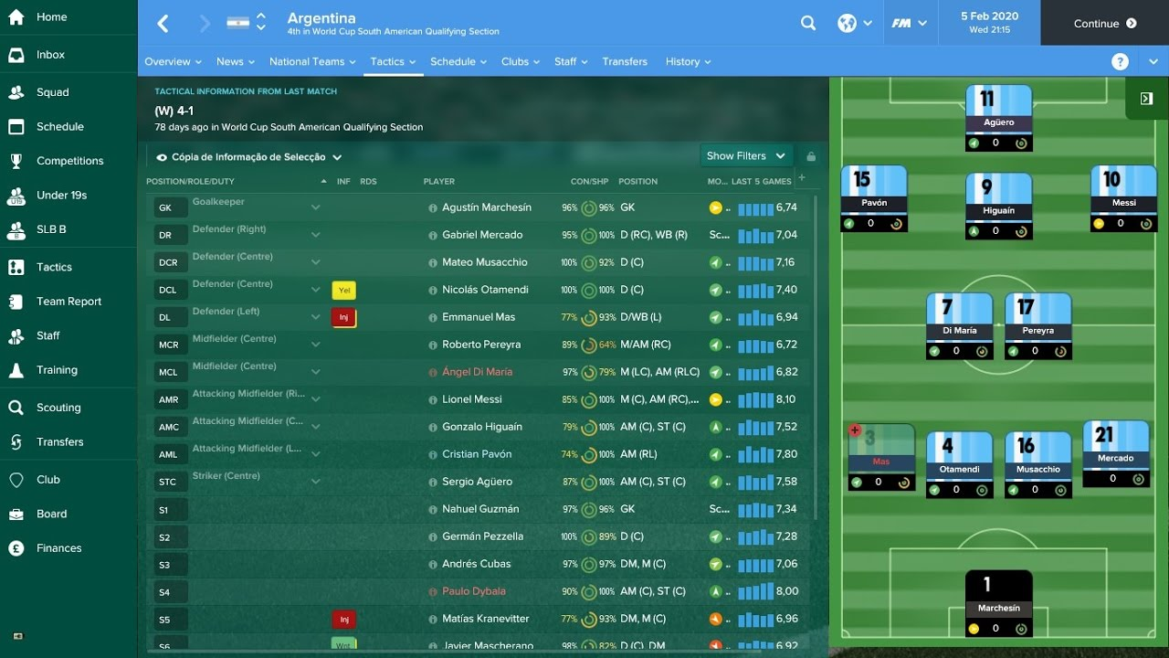 Best Formation Football Manager 2020 Argentina National Football Team in 2020 Football Manager 2017