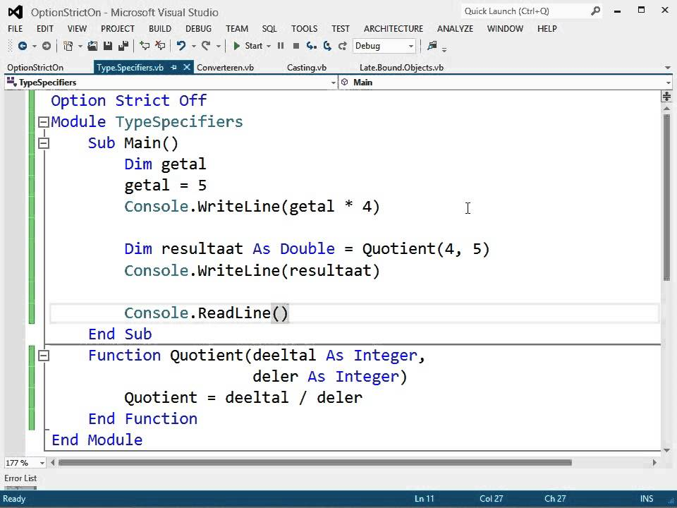 Visual Basic: Compiler Opties: Option Strict: Type Specifiers