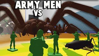 Green Army Men vs GIANT SPIDER! Army Men + TABS = Army Men Battle Simulator (Home Wars Part 1)