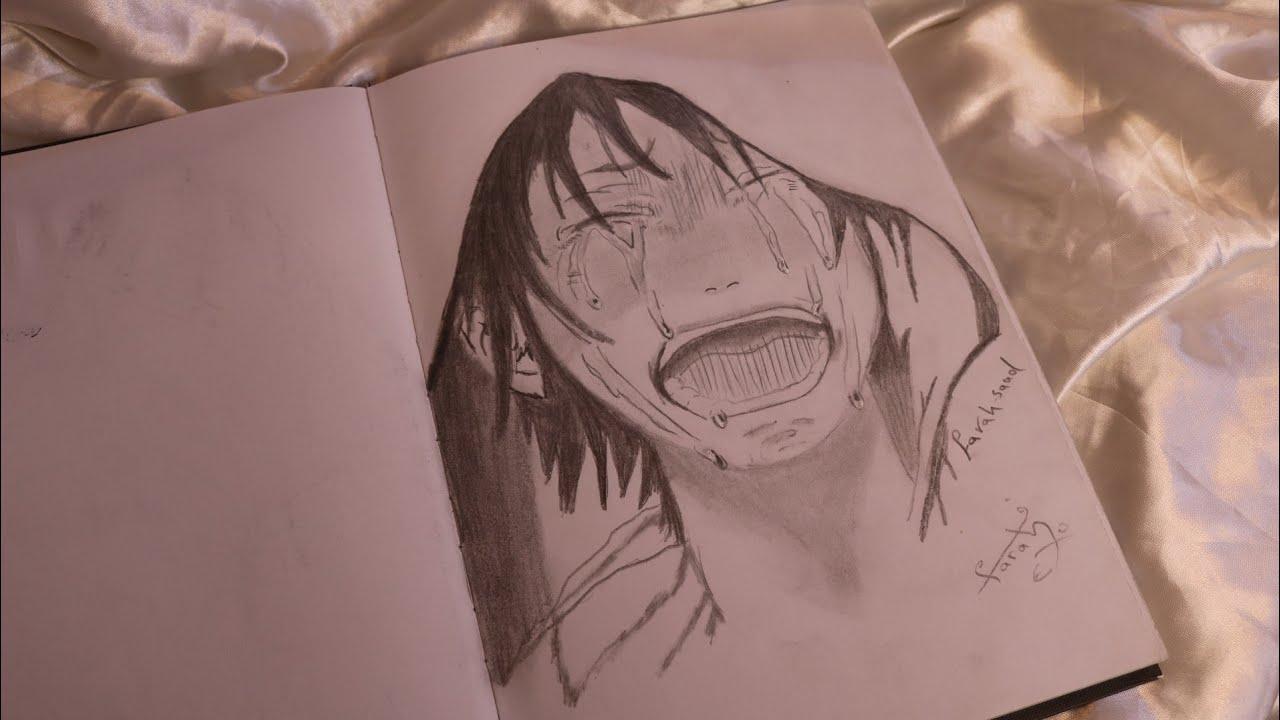 رسم انمي حزين رسم انمي بقلم الرصاص فقط Youtube