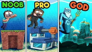 Minecraft - UNDERWATER BASE CHALLENGE! (NOOB vs. PRO vs. GOD)