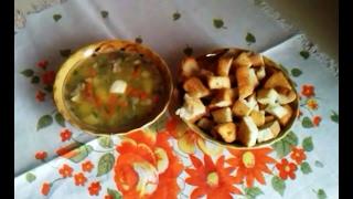 Гороховый суп с гренками Очень вкусно!