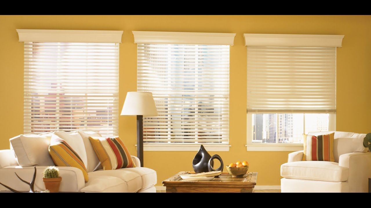 Faux wood blinds for large windows in living room youtube - Living room window treatments for large windows ...