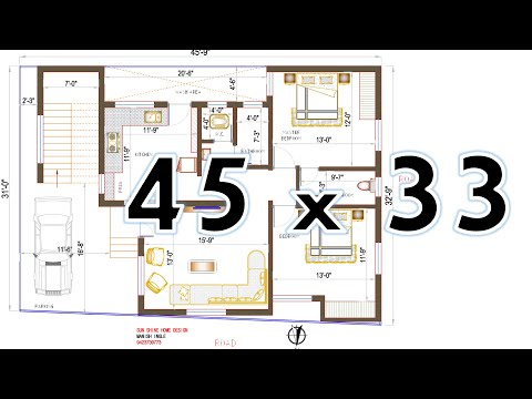 NORTH FACING HOUSE PLAN 45' X 32' __ 2BHK ____as Per Vastu HOUSE PLAN....