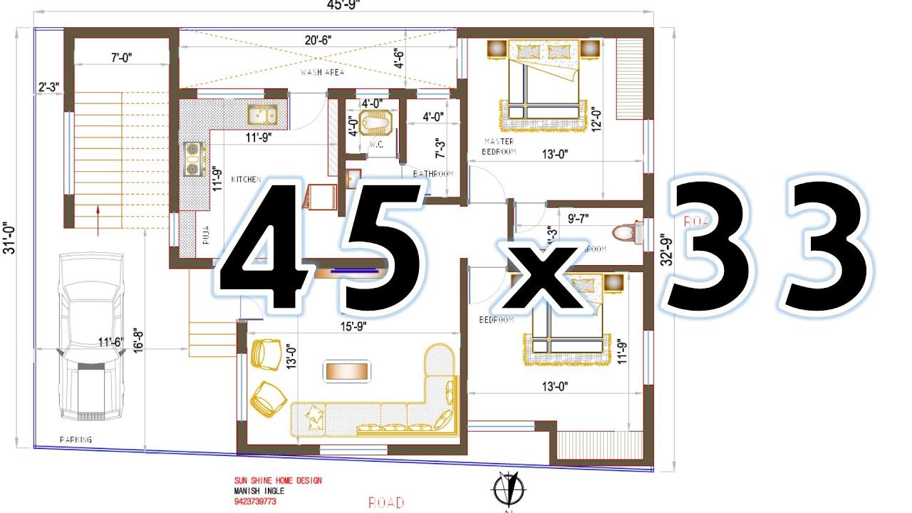 north facing house plan 45 x 32 2bhk as per vastu