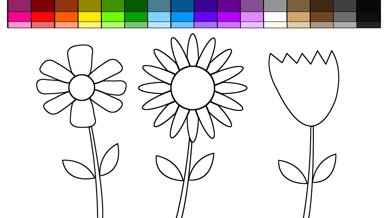 Learn Colors For Kids And Color Spring Flowers Rainbow Coloring Pages