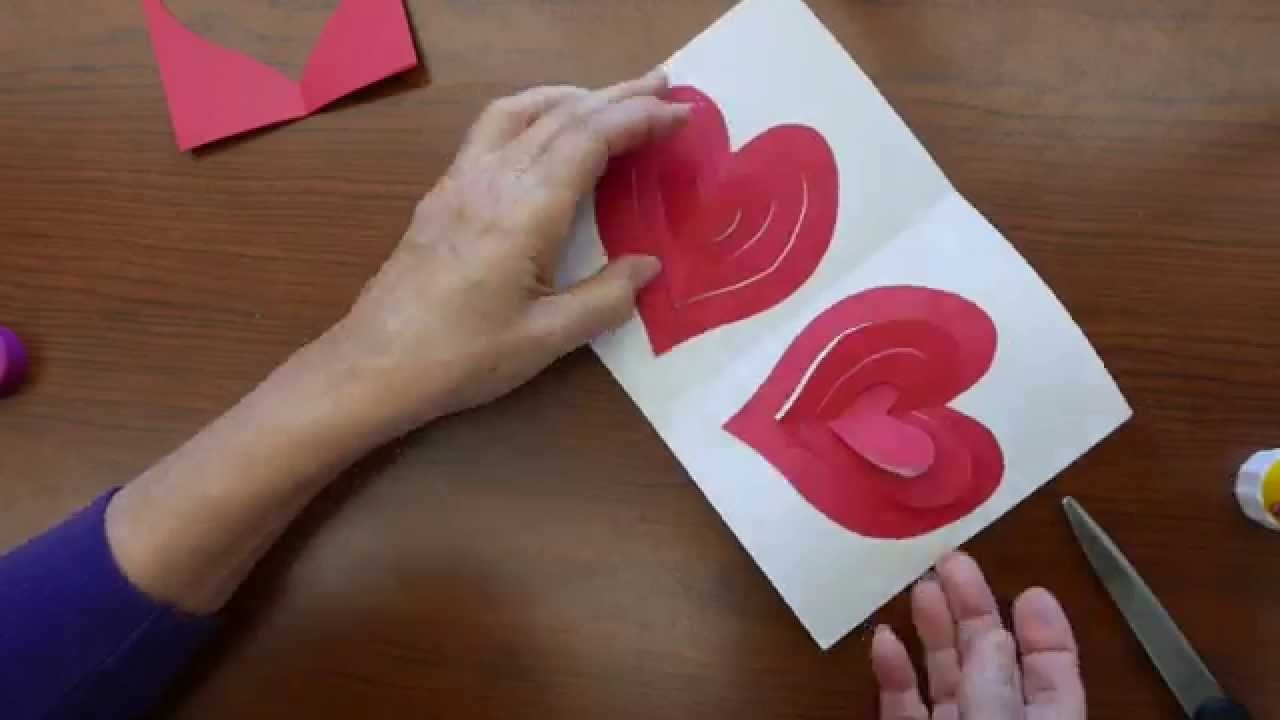 Valentines Day Popup Greeting Card with a Double Spiral Heart – Valentines Day Heart Card