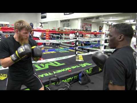 MMA star Emil Weber Meek padwork with boxing trainer Jeff Mayweather
