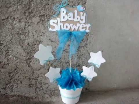 Centro de mesa para baby shower ni o youtube for Mesa baby shower nino