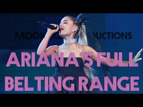 Ariana Grande's FULL UPPER BELTING RANGE! C5-C#6 (Rare B5 and C#6!)