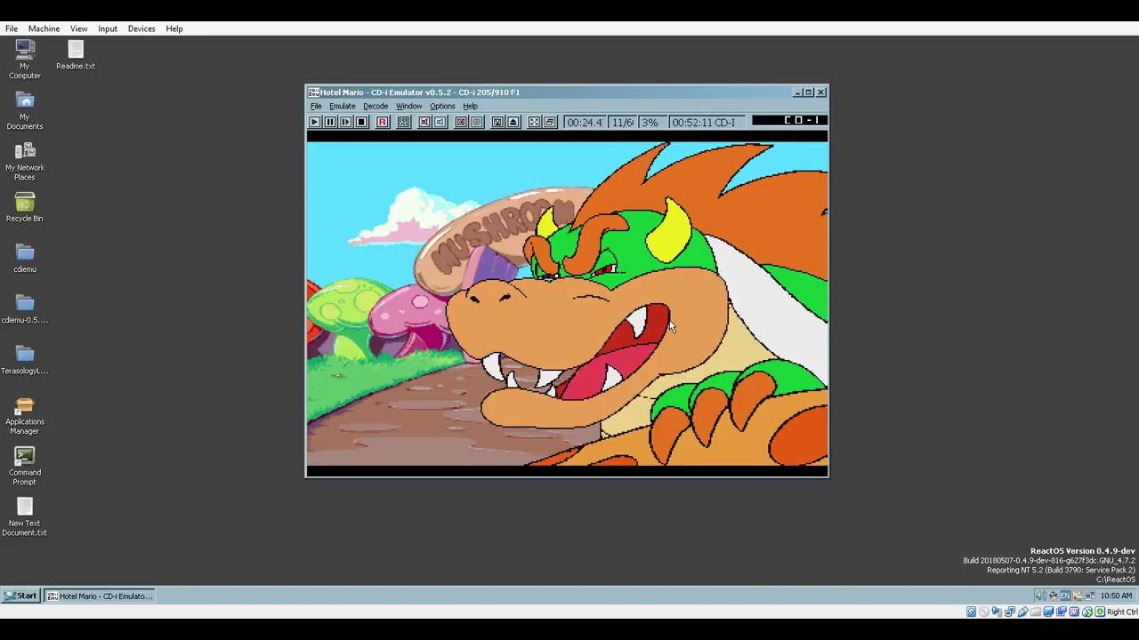 Cd I Emulator Running In Reactos Playing Hotel Mario Youtube