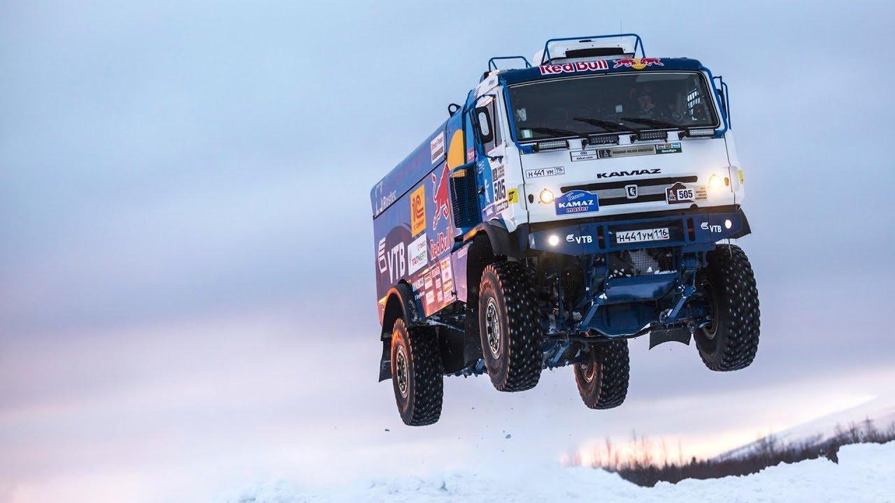 Russian Kamaz Truck Sends a Snow Jump