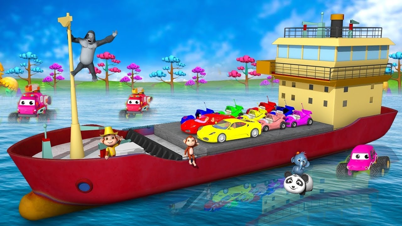 Funny Animals Monkey Rescue Transporter Ship with Monster Trucks - 3D Cartoons Animal Comedy Videos