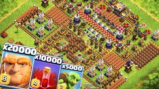 CLASH OF CLANS - 00.000 ГИГАНТОВ! ТЕСТИРУЕМ ТРОЛЛЬ БАЗУ С FIXPLAY! ПРИВАТНЫЙ СЕРВЕР CLASH OF CLANS!