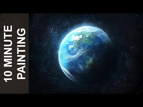 Painting the Planet Earth with Acrylics in 10 Minutes!