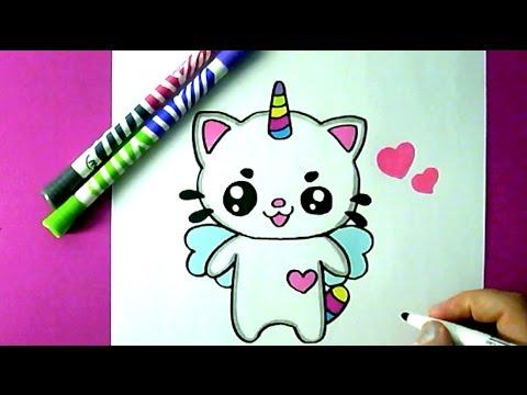 Eine niedliche einhorn katze zeichnen diy youtube - Dessin de chat kawaii ...