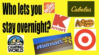 Which big box stores allow free RV camping?