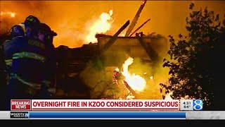 Suspicious fire destroys 5 homes in Kalamazoo