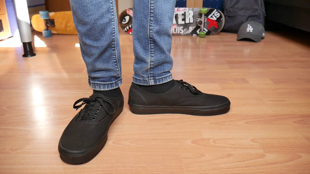 1a3868fb221 Vans Authentic BLACK - On Feet - YouTube