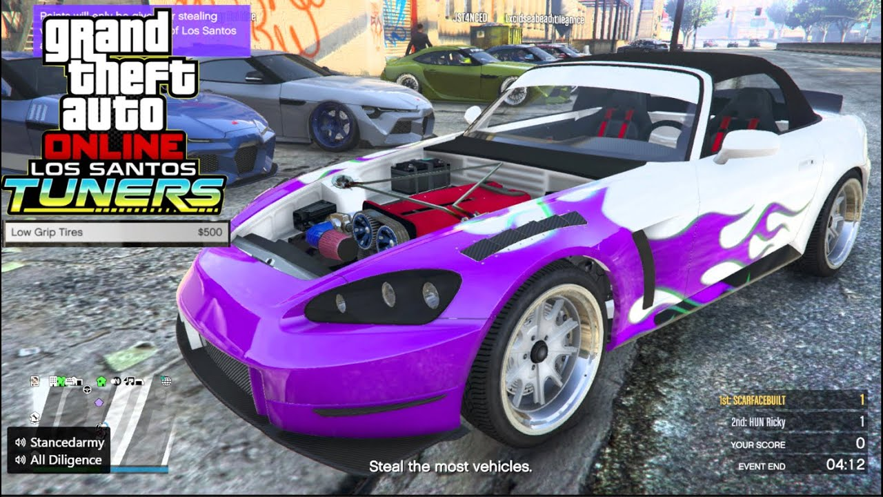 GTA 5 Tuners Online - NEW Dinka S2K + Low Grip Tires! + BIG SUPRA MEET!!