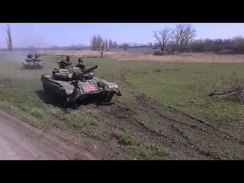 Учения в ДНР с танками Т-72Б1 Т-72АВ и Т-64БВ (апрель 2015)