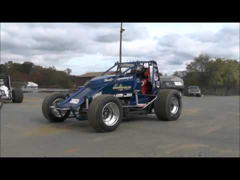 North East Wingless Sprint Cars Practice at New Egypt Speedway 10/24/15