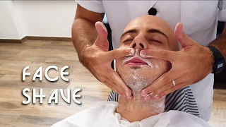 💈 Old school Barber - Face Shave with Massage and hot towel - ASMR no talking