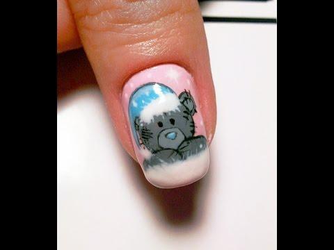 Нарисовать мишку на ногтях