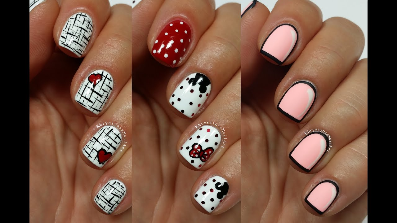 3 Easy Nail Art Designs For Short Nails Freehand 5 Youtube
