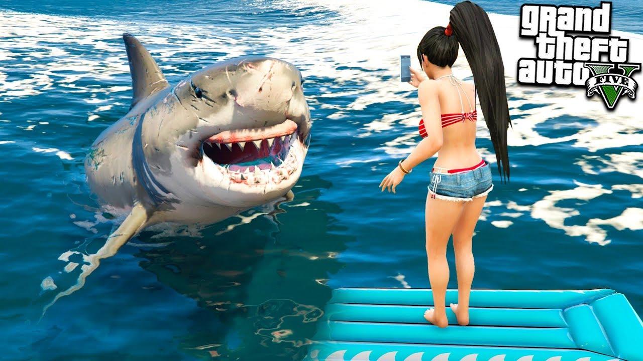 Девушку Франклина Съели Акулы в Гта 5 Моды! Обзоры Модов для Gta 5 Mods! Видео Игры Мультик Гта 5