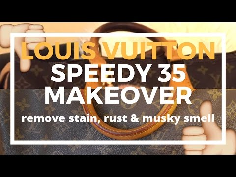 ♡Preloved Speedy 35 Makeover♡ | Cleaning Vachetta, Brass, Getting Rid of Musky Smell | Cherry Tung