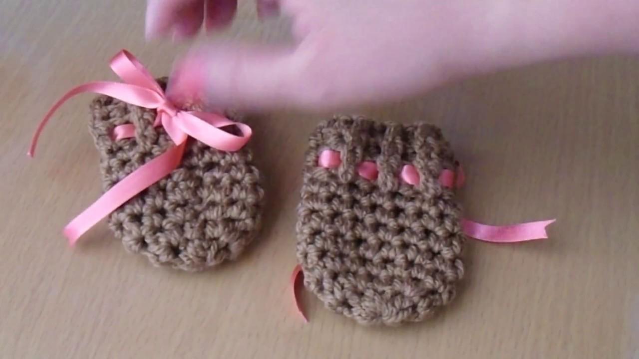 como hacer guantes (manoplas) tejidos a crochet para bebe - YouTube c9d86b2aed4