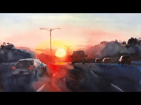 Sunrise on the highway - landscape painting with watercolor