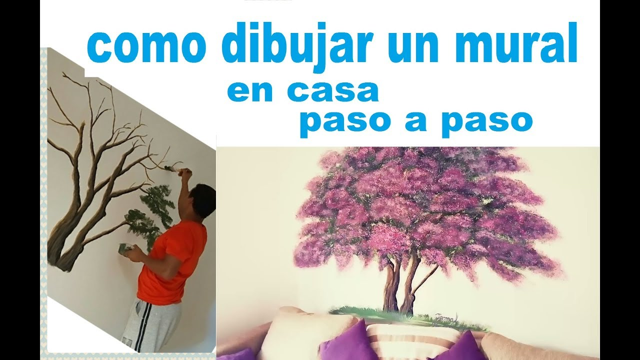 Como pintar un arbol en pared paso a paso youtube - Como quitar gotele de la pared ...