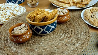 Pan shot of beautifully plated Lohri items consumed during the winter season in India