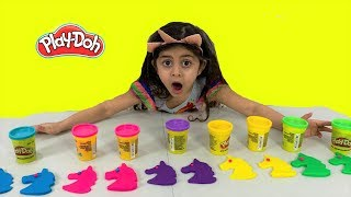 Making Play Doh Color Unicorn Toys!!
